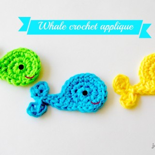 Easy whale crochet applique