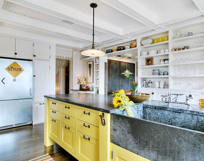 Stylish Two Toned Kitchen Cabinets Yellow And White