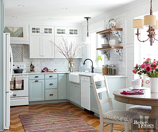 beautiful two toned pastel kitchen