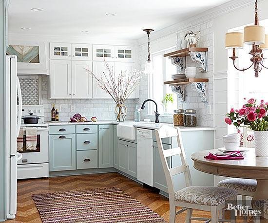 beautiful two toned pastel kitchen