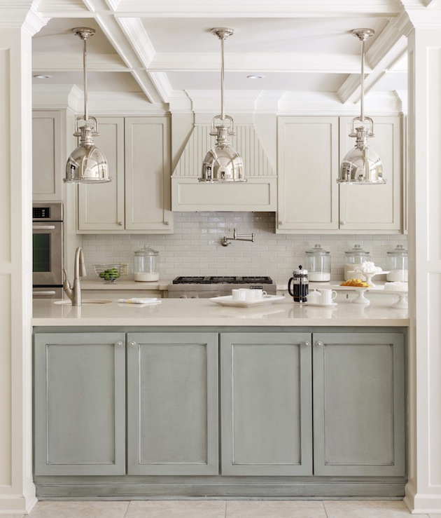 Two Toned Kitchen Cabinet Trend - Grey and white painted kitchen cabinets