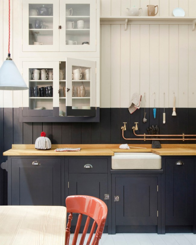 Stylish Two Toned Kitchen Cabinets Navy And White