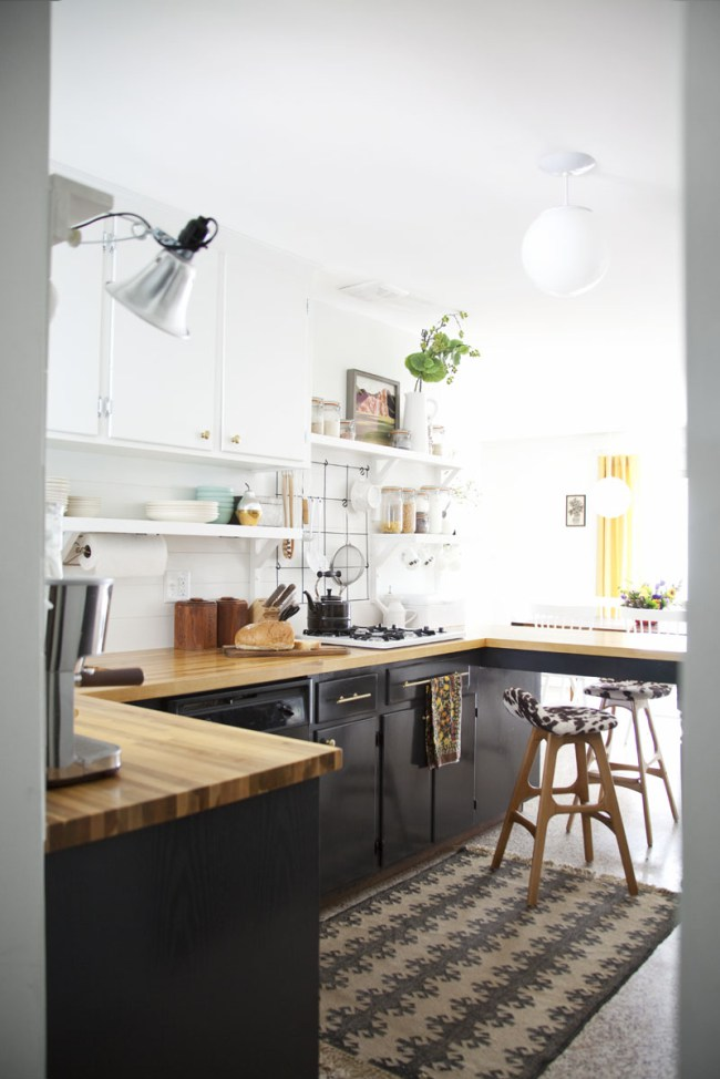Stylish Two Toned Kitchen Cabinets Black And White