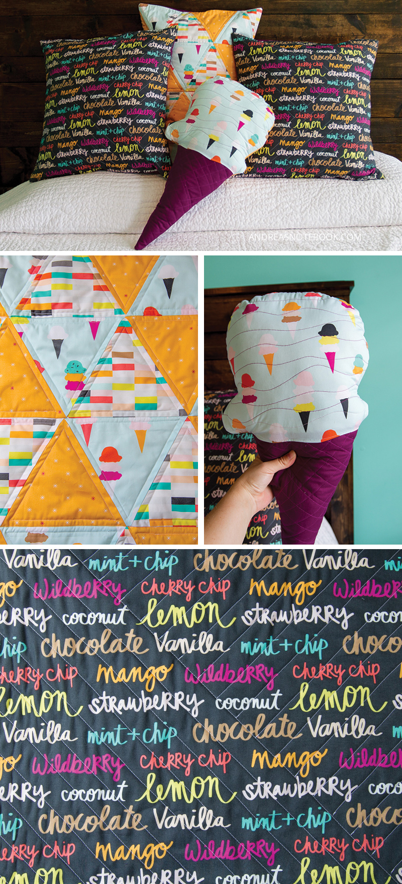Quilted pillows - Ice Cream Theme! Boardwalk Delight fabrics - andreasnotebook.com