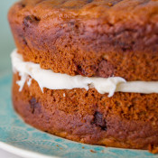 Chocolate chunk pumpkin cake with cream cheese frosting