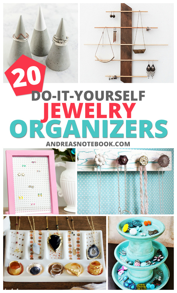 20 DIY jewelry organizers you'll love making - gifts, necklaces, earrings, bracelets, make a jewelry holder