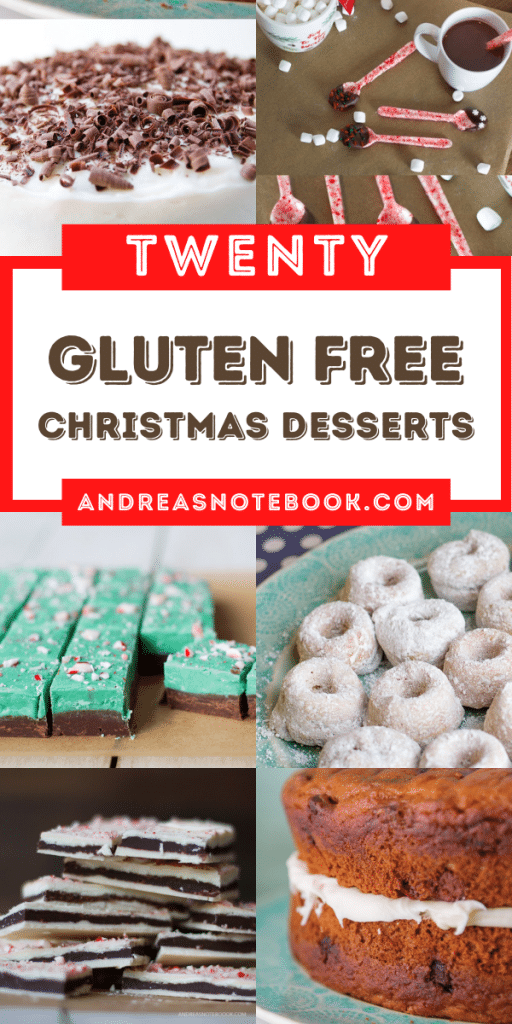 Twenty gluten free christmas dessert recipes collage top photos of cake with chocolate shavings, also green and chocolate fudge, white donuts, peppermint bark and cake