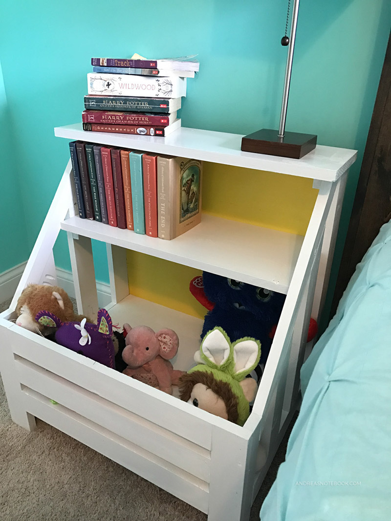 DIY Nightstand Toy Bin Bookshelf