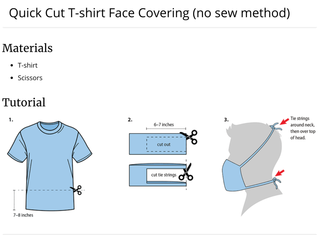 CDC t-shirt DIY face mask tutorial
