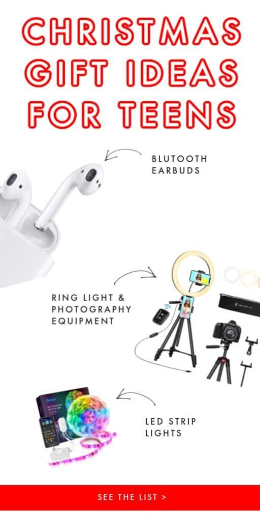 white background air pods led strip light ring light tripod gift for teens