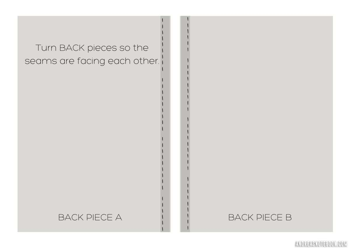 graphic of two back pieces of envelope pillow facing each other