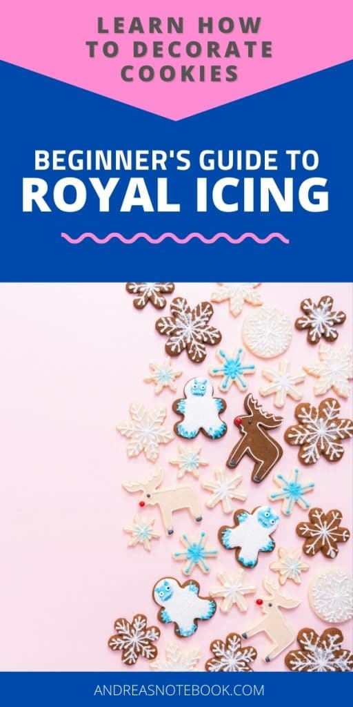 how to do royal icing - christmas decorated sugar cookies on pink background