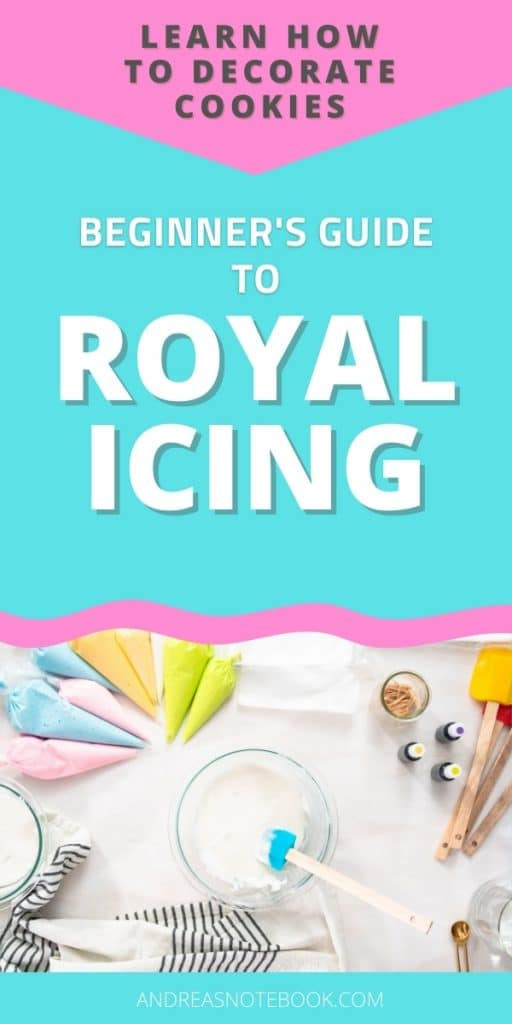 layout of supplies needed for doing royal icing including piping bags spatula food coloring