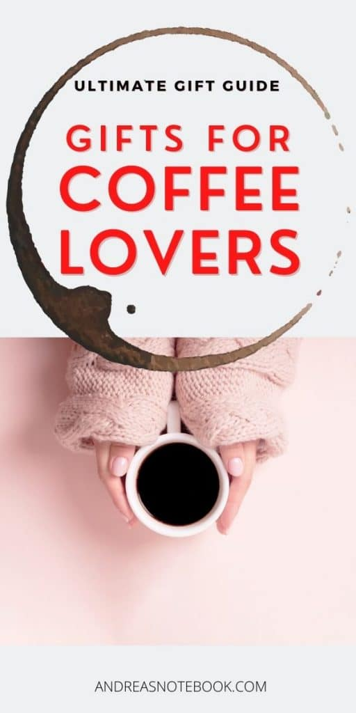 pink background, arms holding coffee cup. Title says Gifts for coffee lovers