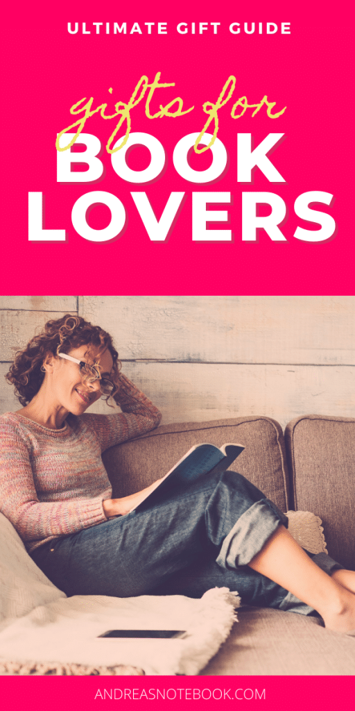 poster: writing says gift guide for book lovers: woman sitting on couch reaching book