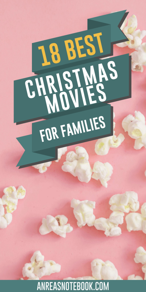 popcorn on pink - writing says 18 best christmas movies for families
