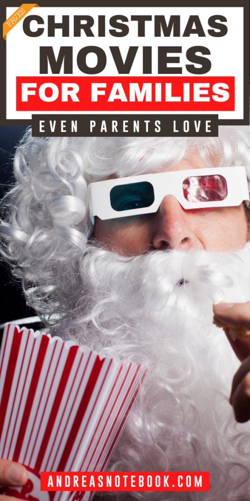 santa eating popcorn with 3D movie glasses - text says 18 of the best family christmas movies even parents enjoy