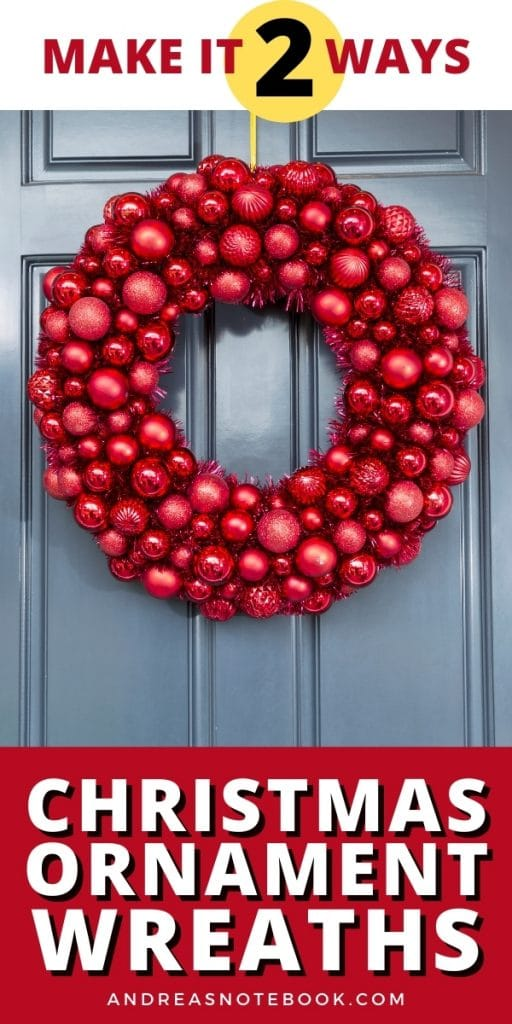 red wreath made from ornaments