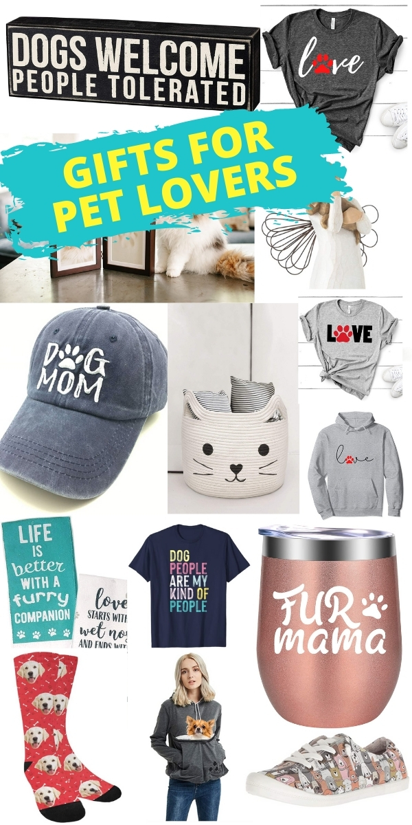 gifts for pet lovers - hats, shirts, wine mugs, sweatshirts, cat basket, socks, and so much more