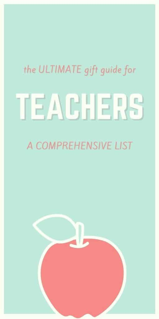 mint background pink drawn apple poster for teacher gift guide