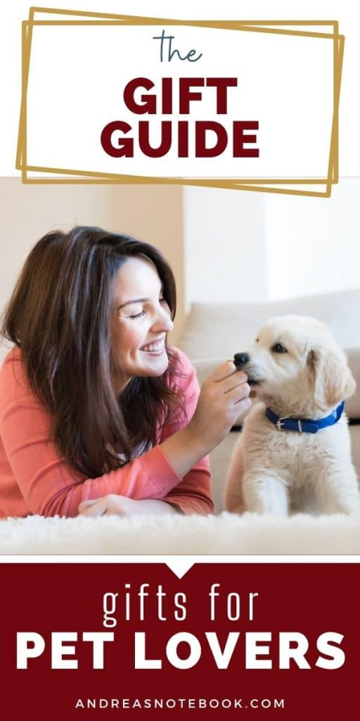 gifts for pet lovers- woman playing with puppy