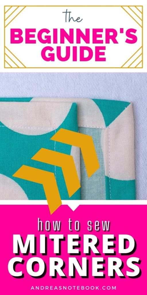yellow arrows pointing at a mitered corner in a handmade cloth napkin