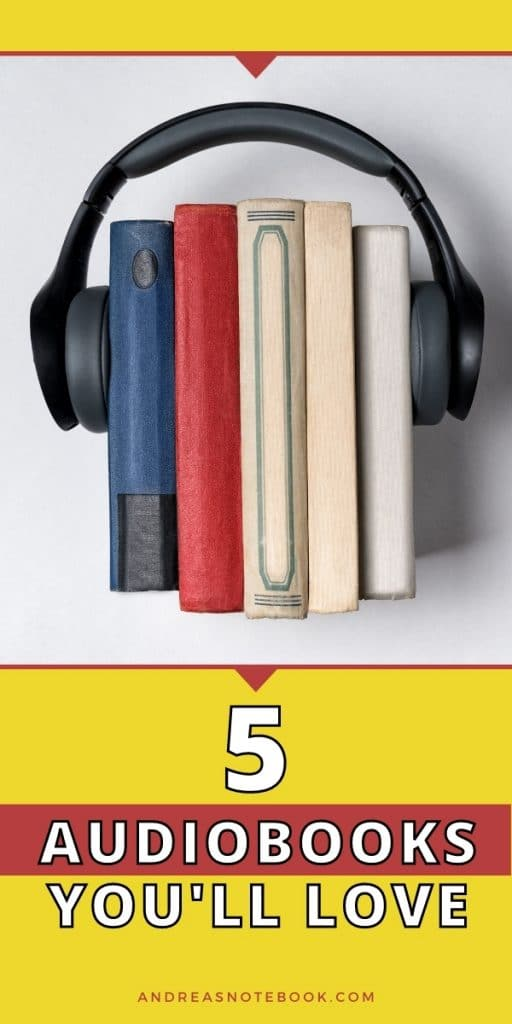 text: 5 audiobooks you'll love - photo of black headphones over stack of books