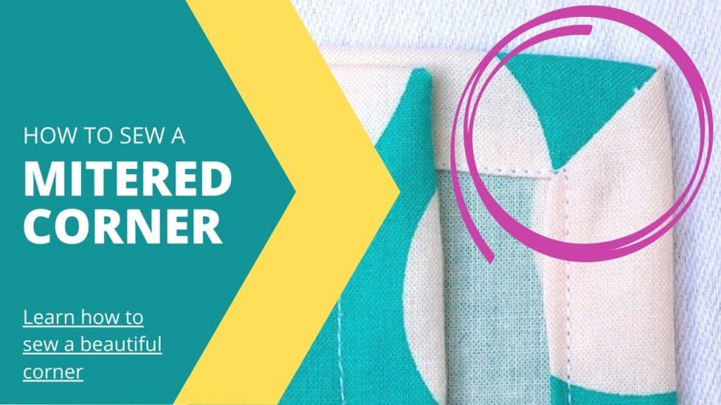 mitered corner of a turquoise and white napkin - text: how to sew a mitered corner