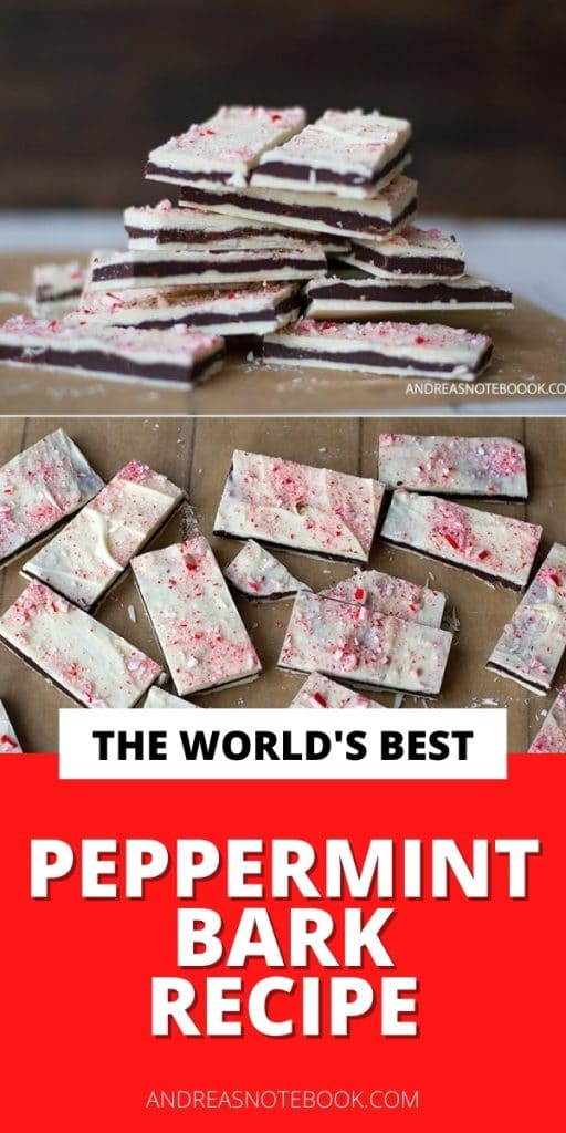 dark chocolate and white chocolate peppermint bark stacked