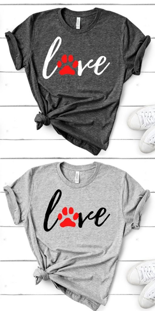 LOVE t-shirts with paw prints - gifts for pet lovers