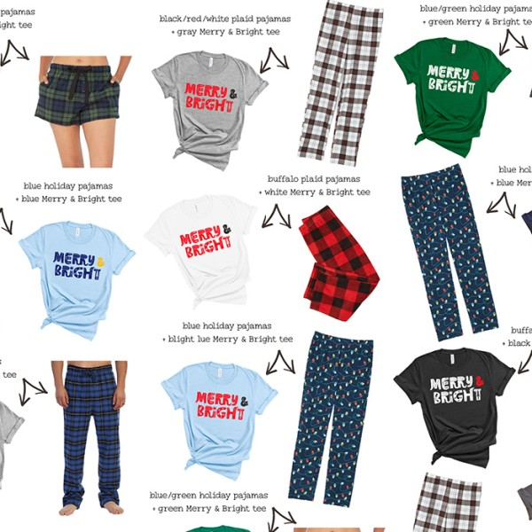 lots of christmas tees and pajama pants of different colors