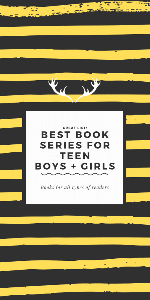 book series for teens poster - black and yellow stripes in background