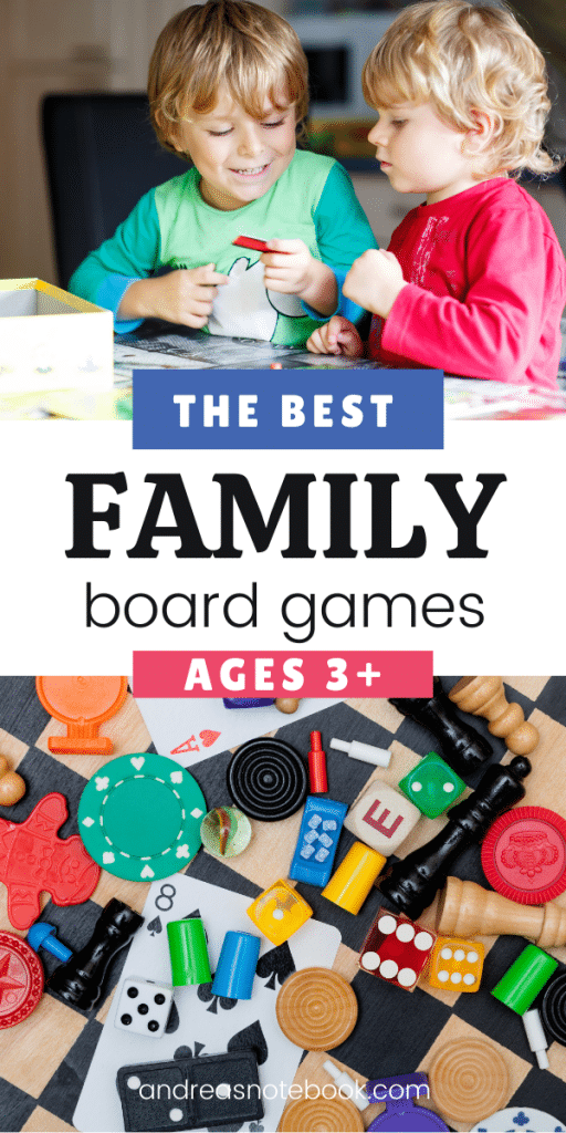 4 colored game pieces and white die | text says ages 3+ the best family board games