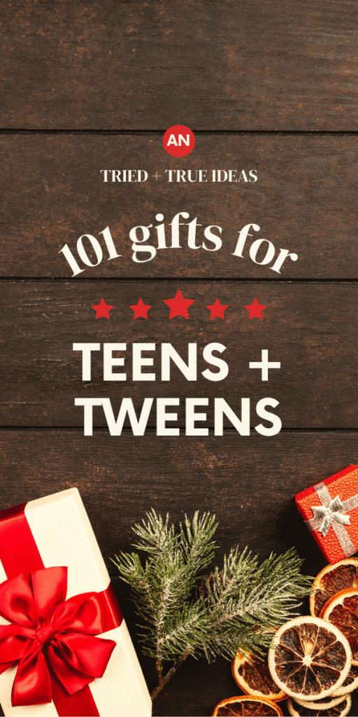 wood background with wrapped gifts and christmas tree branch - text says 101 gifts for teens and tweens