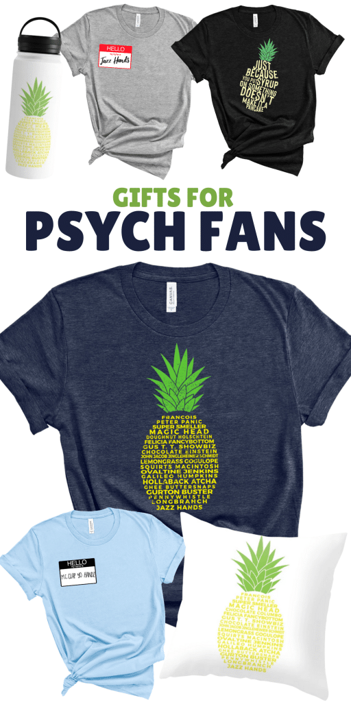 Gifts for Psych Fans - t-shirts collage and water bottles and pillow