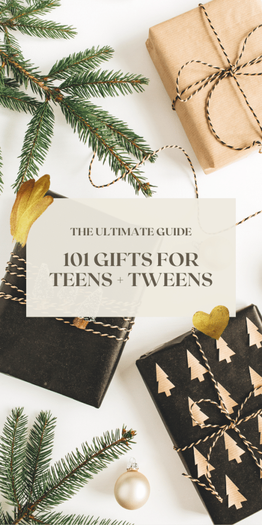 white background with black and gold wrapped gifts - text says 101 gifts for teens and tweens