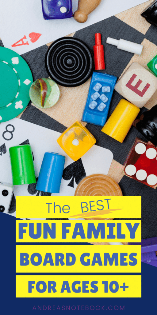 text: the best family board games ages 10+ | image of bag of game pieces on gray background