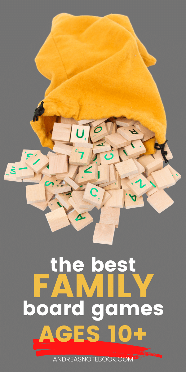 text: the best family board games ages 10+ | image of game pieces