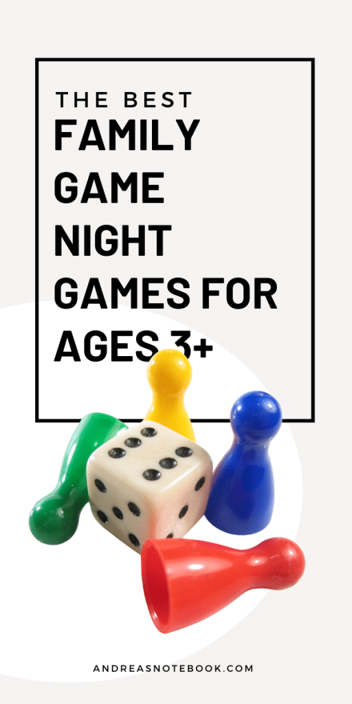 die and 4 colored game pieces on white background - Best Preschool Family Board Games for Ages 3+