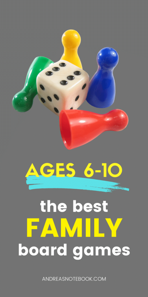 4 colored game pieces and white die | text says ages 6-10 the best family board games