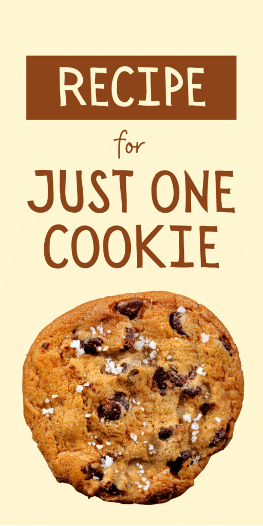 chocolate chip cookie with salt on top - text says just one cookie recipe