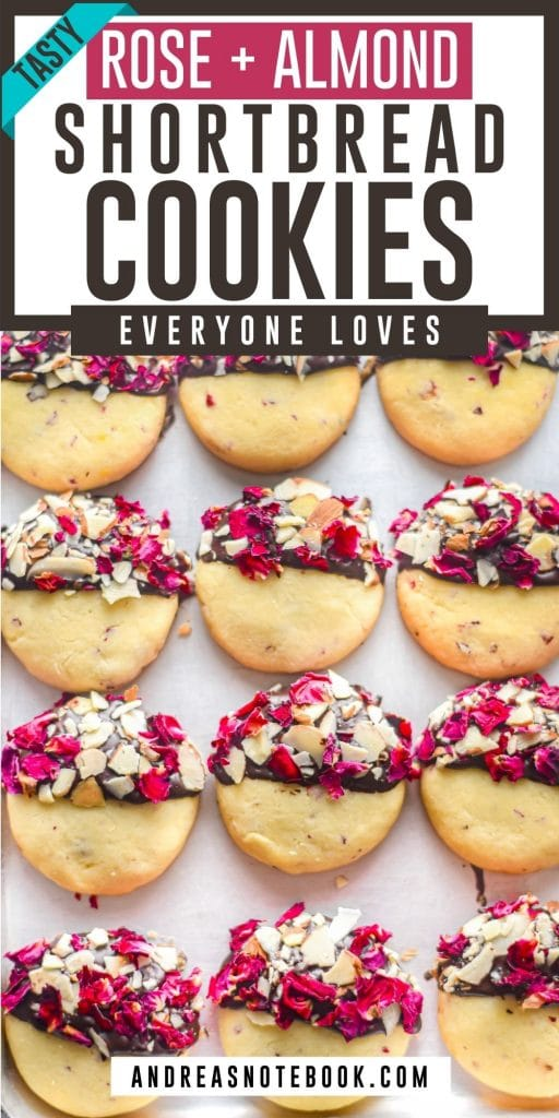 Black and White Rose Vanilla Shortbread Cookies with Almonds PIN