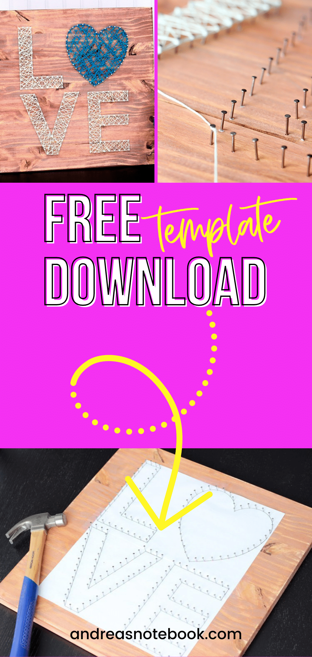 free template download with arrow pointing to l-o-v-e template on board