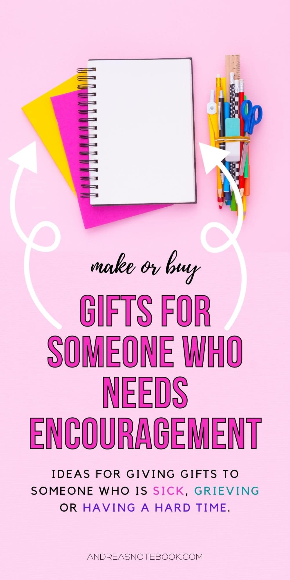 pink background. text says: gifts for someone who needs encouragement