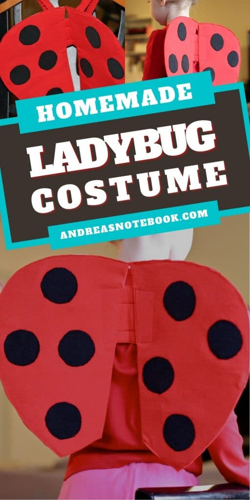"""Collage. Top left back view of red ladybug wings with black dots. Right top side view of girl's torso wearing ladybug wings and red shirt. Bottom image back view of torso of child wearing red and black polkadot ladybug wings. Text says """"ladybug custome"""""""