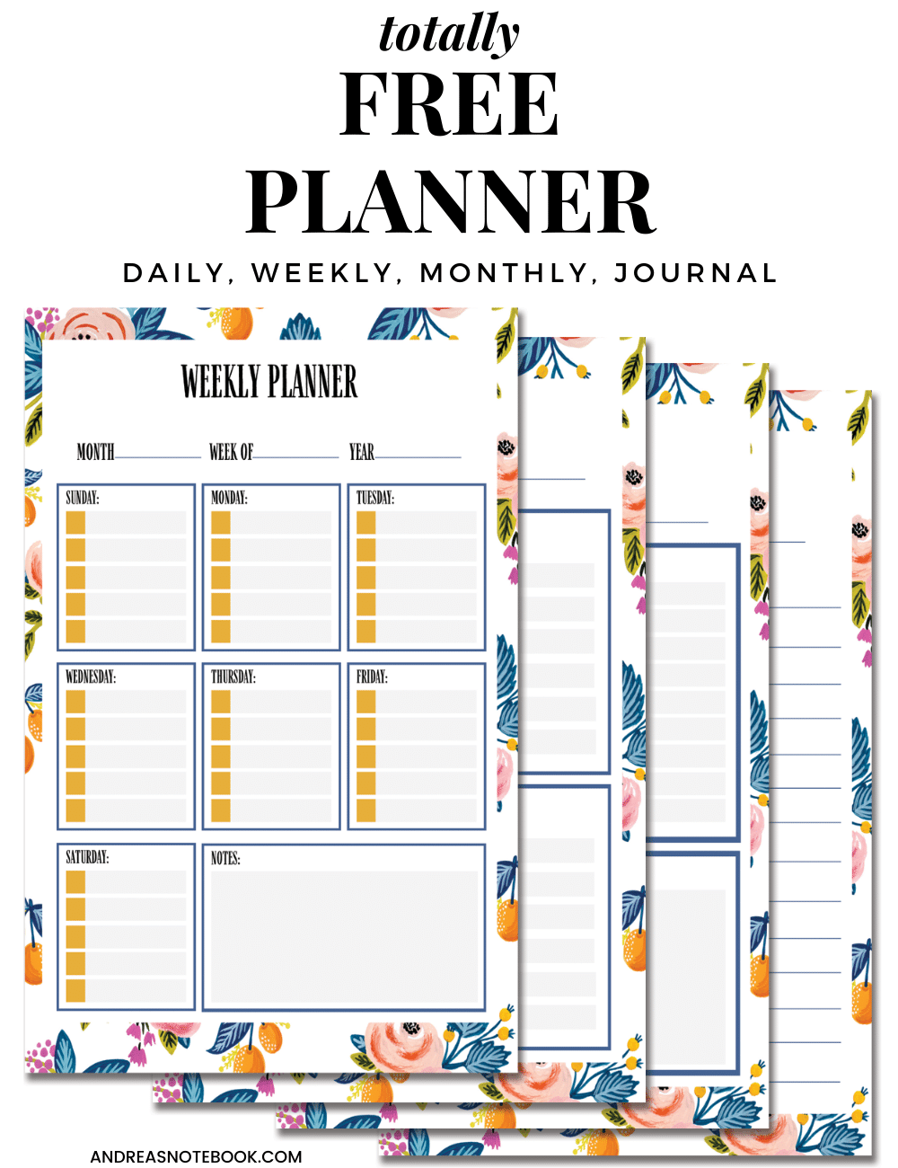 free planner - image of 4 free planner sheets on top of one another