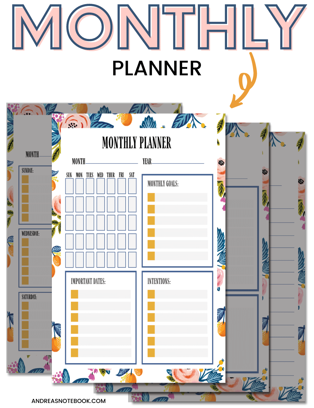 free planner - image of 4 free planner sheets on top of one another - highlighting monthly planner sheet