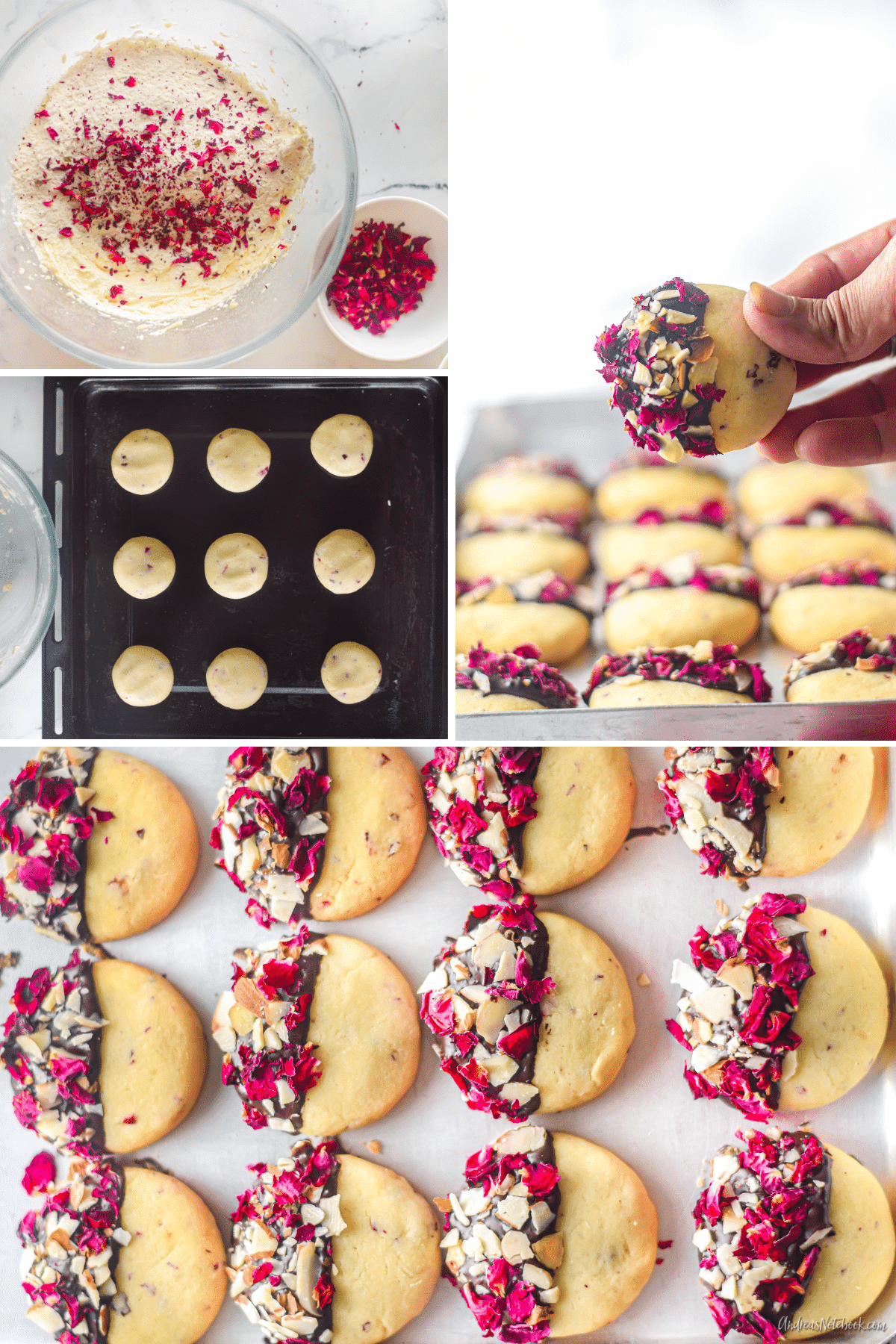 rose vanilla shortbread cookies collage - black and white cookie with edible rose petals and almonds