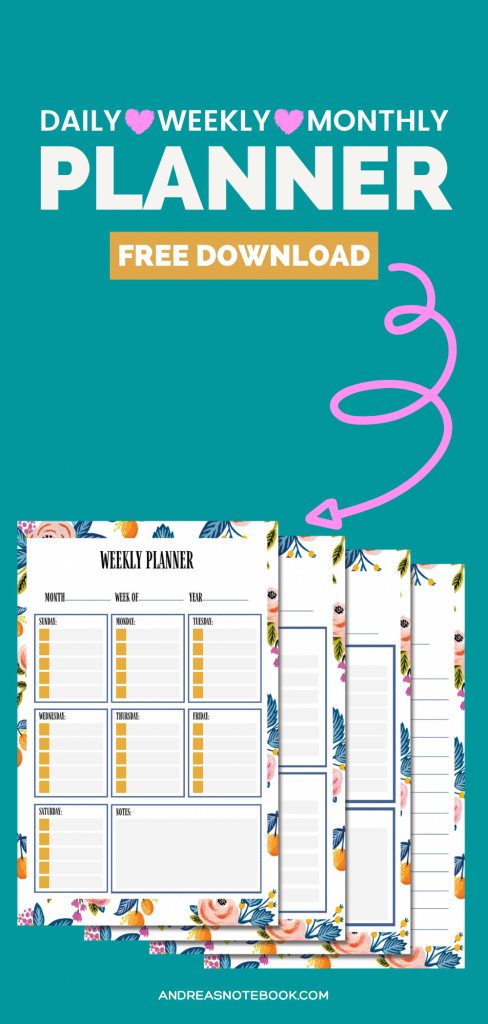 FREE daily, weekly, monthly PRINTABLE planner pages + bonus journal page - image of pages collaged