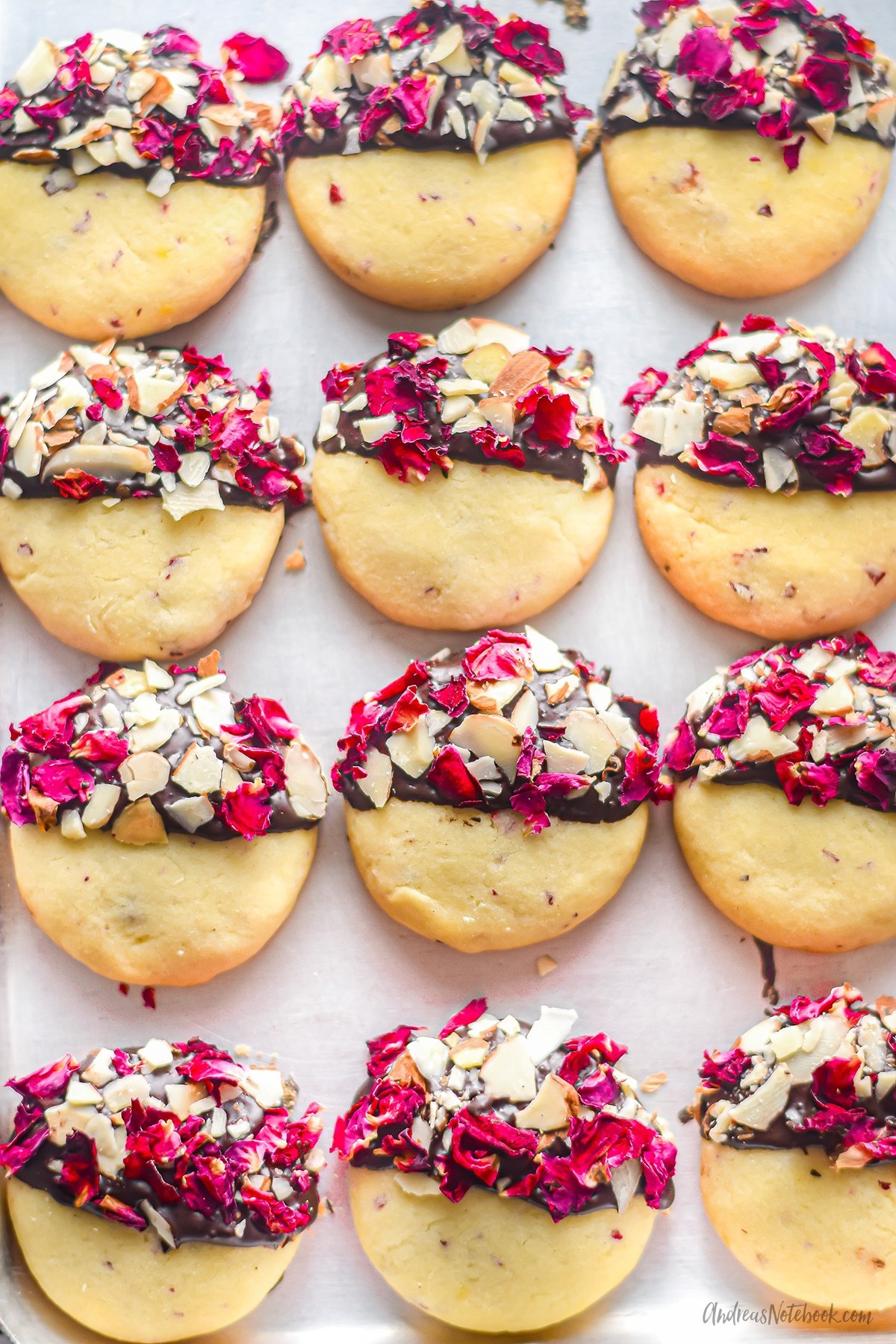 12 half dipped black and white cookies - vanilla shortbread cookies with chocolate and edible rose petals and almonds